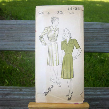 Vintage 1940s New York Pattern Sewing Pattern 960 COMPLETE