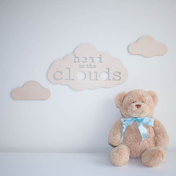 Head In The Clouds - wooden sign - nursery decor - clouds nursery - little dreamer - laser cut - natural - neutral nursery