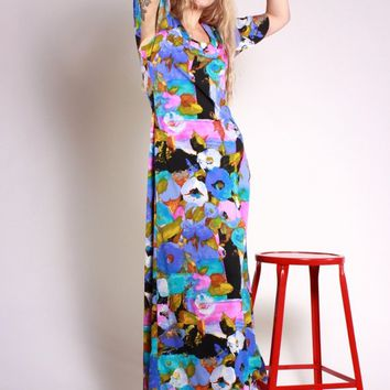 Abstract Floral Flutter Sleeve Dress / S
