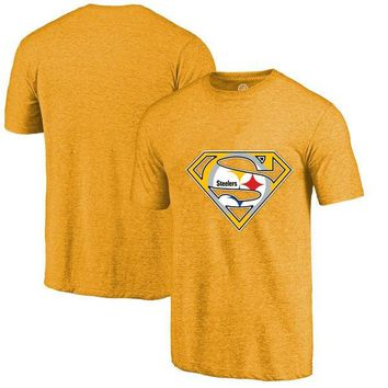 High Quality Fashion Men's Steelers Fans T-Shirt, Pittsburgh Tees Superman S Logo Picture Printing Classical O-neck T Shirts