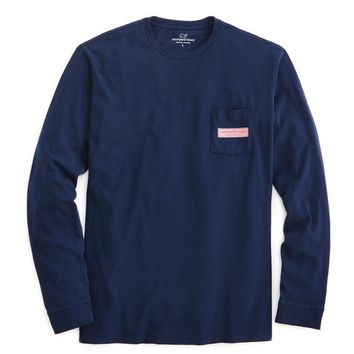 Long-Sleeve vineyard vines Rectangle Logo Graphic Pocket T-Shirt