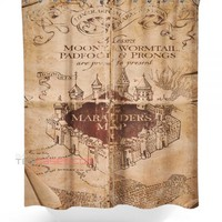 Marauders Map shower curtain customized design for home decor