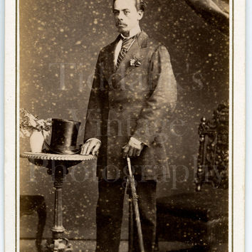 CDV Carte de Visite Photo Victorian Handsome Dapper Man, Top Hat & Cane Striped Tie Portrait - T North of Dublin Ireland - Antique Photo