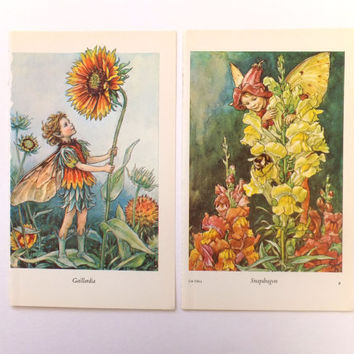 Two Vintage Prints, Cicely Mary Barker - Snapdragon and Gaillardia Flower Fairies, nursery decor, child's bedroom Fall colours, Autumn Decor