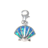 925 Silver Rhodium Hawaiian Sunrise Shell Blue Opal Clasp Enhancer Pendant Charm