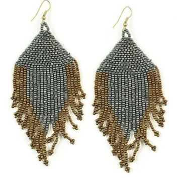 Ink + Alloy | SEED BEAD EARRING WITH FRINGE |  GUNMETAL AND GOLD