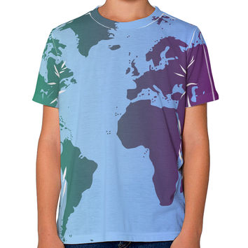 Cool World Map Design Youth T-Shirt Dual Sided All Over Print