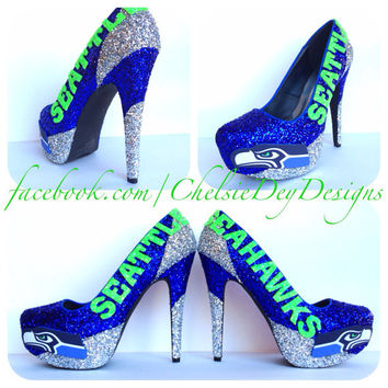 Seattle Seahawks Glitter High Heels