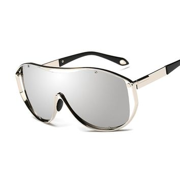 Shield Oversize Sunglasses Retro Sunglasses