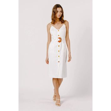 Belted White Midi Dress