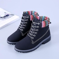 Round Toe Patchwork Lace Up Short Martin Boots