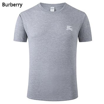 Burberry Summer New Fashion Bust Side War Horse Print Leisure Women Men Top T-Shirt Gray