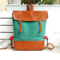Ottobags Green Waxed Canvas  Backpack  with Adjustable by ottobags