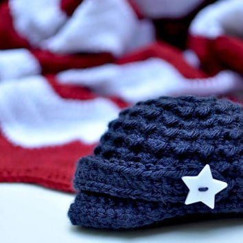 Baby Hat Old Glory 4th of July Fourth of July by knoodleknits