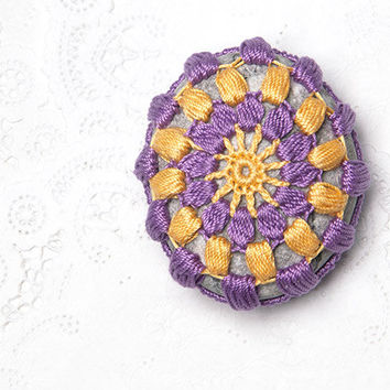 Crochet Covered Stone, Valentine's Day, Lace Stone, Paperweight, Home Decor, Beach Wedding,  Fiber Art Object,Purple Yellow