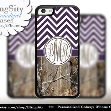 Dark Purple Chevron Monogram iPhone 5C 6 Case Plus iPhone 5s 4 Ipod 4 5 Touch case Real Tree Camo Zig Zag Personalized Country Girl