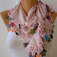 ON SALE - Pink Scarf  Cotton   Scarf -  Cowl Scarf  with felt edge - fatwoman