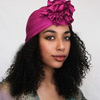 Chemo Hat |Flower Turban|Fuchsia
