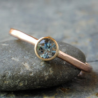 Aquamarine Engagement Ring in 14k Rose Gold by DalkullanJewelry