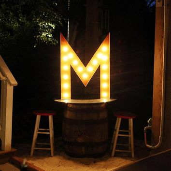 "36"" Letter M Lighted Vintage Marquee Letters (Rustic)"