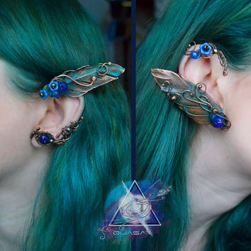 Ear cuffs with real feathers | electroforming, electroplating, copper plated,feather bird, feather ear cuff, boho style, elven ear cuffs