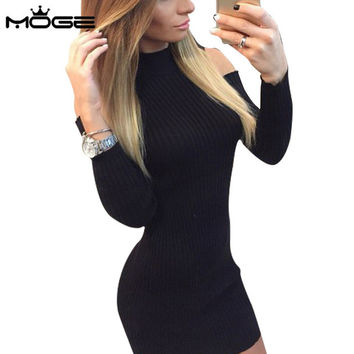 MOGE knitted dress women cotton warm sweater winter dress long sleeve off shoulder sexy short dress vestidos invierno robe femme
