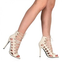Michelle Lace Up Heels in Nude