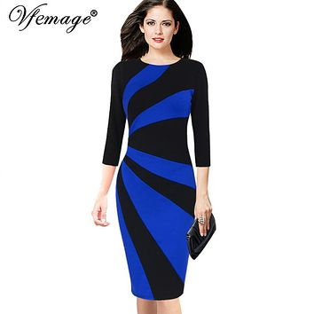 Vfemage Womens Elegant Contrast Patchwork 3/4 Sleeves Colorblock Wear To Work Official Business Party Bodycon Pencil Dress 8081
