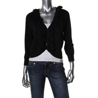 Cable & Gauge Womens Ruffled Knit Cardigan Sweater