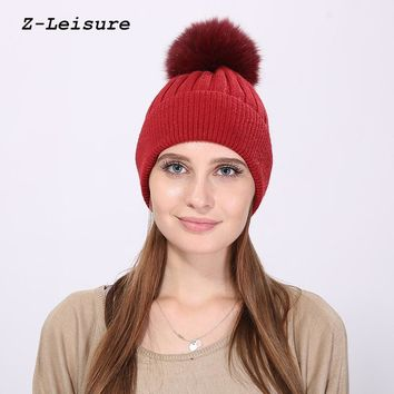 2017 Wool Hat Knitted Beanies Cap Thick Female CapReal Fox Fur Pom Poms Ball Fashion Solid Warm Winter Hat For Women KC123