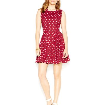 Maison Jules Fit & Flare Polka-Dot Dress