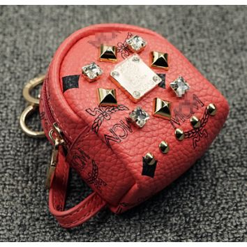 MCM Rhinestone rivets purse car key bag pendant mini backpack Red