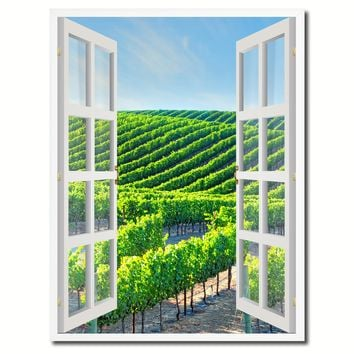 Wine Vineyards Napa Valley California Picture French Window Canvas Print with Frame Gifts Home Decor Wall Art Collection