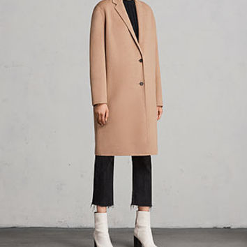 ALLSAINTS US: Womens Anya Coat (CAMEL BROWN)