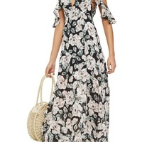 Topshop Devoré Floral Cold Shoulder Dress | Nordstrom