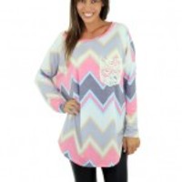 Pastel Chevron Top With Crochet Pocket