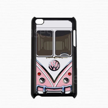 Ipod Touch 4 Case - Pink VW minibus Ipod 4G Touch Case,4th Gen Ipod Touch Cases