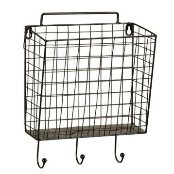 black metal mesh basket wall hook from kitchen. Black Bedroom Furniture Sets. Home Design Ideas