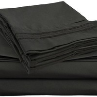 Clara Clark Premier 1800 Collection 4pc Bed Sheet Set - Full (Double) Size, Black,