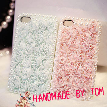 My princess series pearl Lace rose iphone 5 case iphone 4 case iphone 4s case pure handmade lace iphone cover