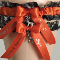 Personalized Mossy Oak Orange Wedding Garter Set, Prom Garter Set