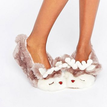 Boux Avenue Reindeer Slipper at asos.com