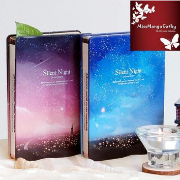 """Silent Night"" Diary Notebook Metal Cover Any Year Blank Cute Planner Journal School Study Notepad Gift Package"