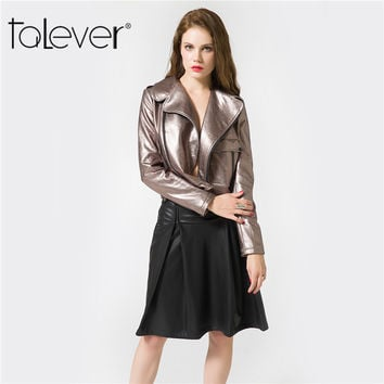 Talever 2017 Fashion Autumn Leather Jacket Bolero Sexy Female Coat Soft Leather Women Spring Big Size 3XL Jackets