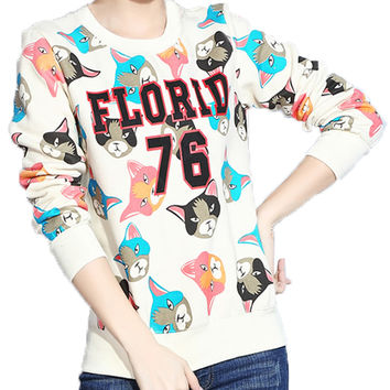 Women's All-match Relaxed Fleece/T-shirt With Cartoon Cat Face Print