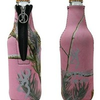 Browning Realtree Pink Womens Buckmark Bottle Zipper Koozie Cooler