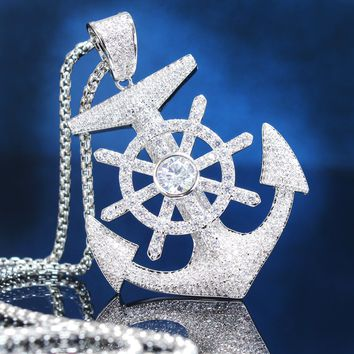 Ship Mariner's Anchor with Wheel Iced Out Pendant Chain