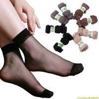 One pair price Lady's girls Transparent Thin Crystal Socks/women socks 4 basic colors nude coffee grey black socks