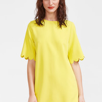 Yellow Scallop Edge Round Neck Short Sleeve Dress