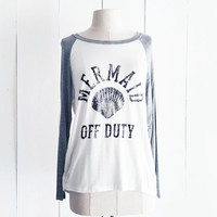 Mermaid Off Duty Baseball Tee, Grey and White